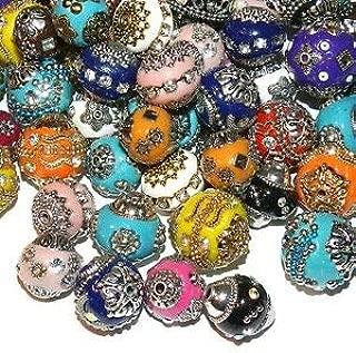 3 Cloisonne Charm Beads 10mm For European//Charm Bracelet Gold//Flower