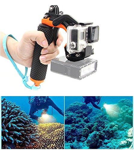 Pistolenauslöser-Set, GoPro Floaty 3 + Unterwasser-Selfie-Stab mit Auslöse-Verschlusssystem. Perfekt fürs Tauchen mit der Kamera, konkurrenzfähig mit GoPro Hero3+/4(Orange)