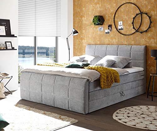 DELIFE Bett Astana Velour Hellgrau 180 x 200 cm mit Bettkasten