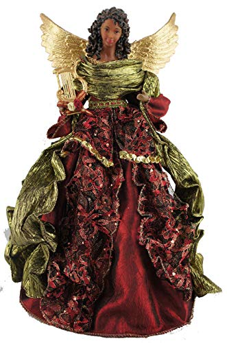 """Santa's Workshop Aa Christmas Angel Tree Topper, 15"""" Tall, Red/Gold/Green"""