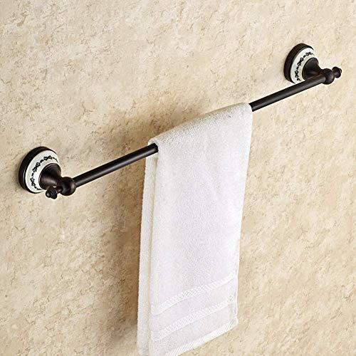 SCJ Toallero Negro, Toallero unipolar, Toallero de Cobre Completo Baño Toallero de una Capa Accesorios de baño-C 60 cm (24 Pulgadas)