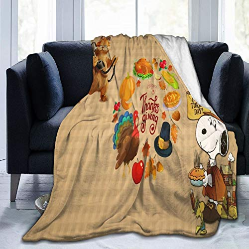 Techsource Snoopy&Garfield Happy Turkey Day Fuzzy Fluffy Plush Micro-Soft Flannel Throw Blanket Fit Thanksgiving Gift 50' X40