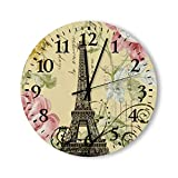 Round Wood Wall Clock Home Decor,Shabby Elegance Yellow Pink Floral Eiffel Tower Round Clock Pattern Wood Wall Clock, Battery Operated, no ticking sound, for home, the Kitchen, Living Room, Bedroom, R