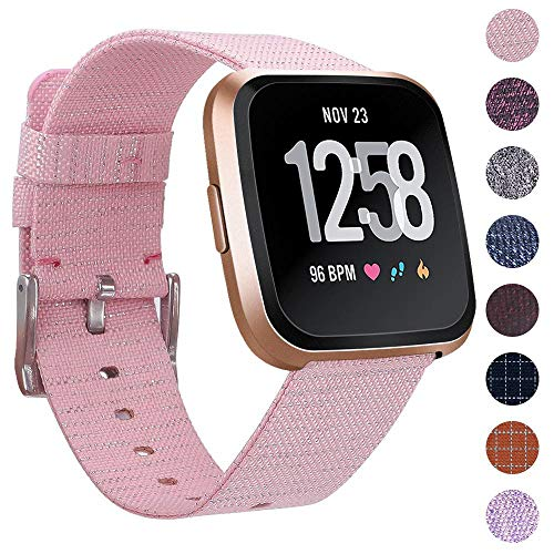 EZCO Bands Compatible with Fitbit Versa/Versa 2 / Versa Lite, Woven Fabric Breathable Watch Strap Quick Release Replacement Wristband Accessories Compatible Versa Smart Watch Women Man