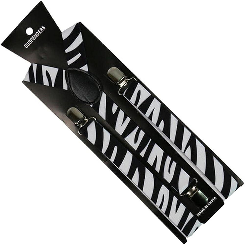 Fashion 1 Inch Wide Men Women Unisex Clip-On Suspenders Elastic Braces