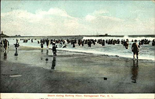 Beach during Bathing Hour - Pier in Background Narragansett, Rhode Island RI Original Vintage Postcard