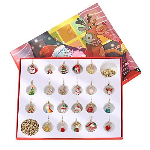 Minear Countdown Bis Weihnachten Adventskalender, Weihnachts-Adventskalender Schmuck, 24 Tage Gold Armband Halskette Geschenkbox Für Mädchen