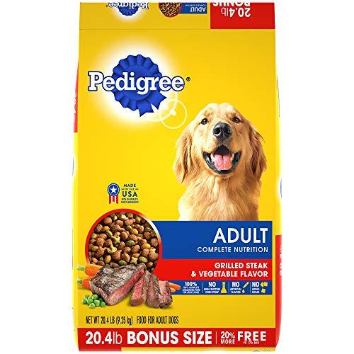 PEDIGREE Complete Nutrition Adult Dry Dog Food Grilled Steak & Vegetable Flavor Dog Kibble, 20.4 lb. Bag