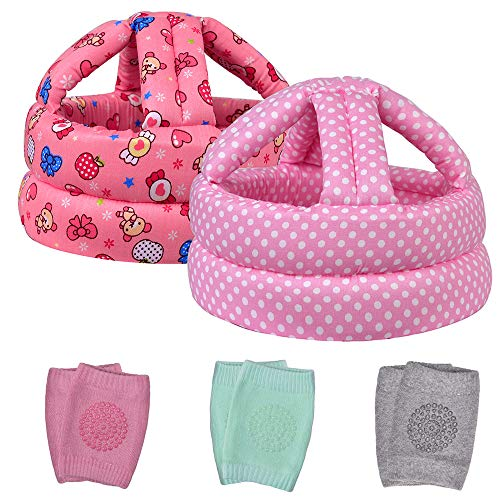 TORASO Baby Head Protector & Baby Knee Pads for Crawling, Infant Safety Helmet & Walking Baby Helmet, for Age 6-36 Months, Pink Candy&Dots(B)