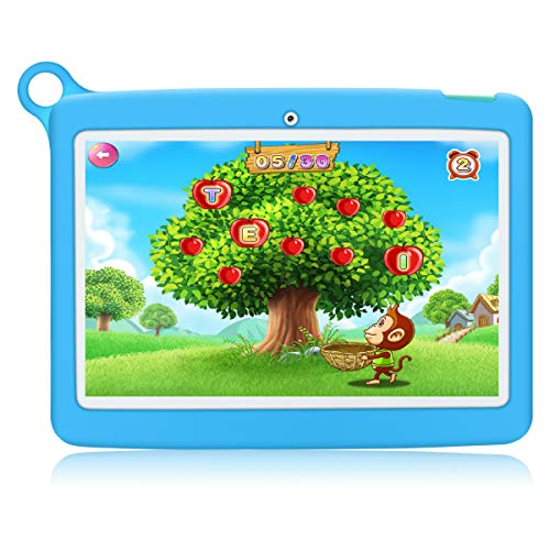 Kinder Tablet 10 Zoll Padgene Android 8.1 Kindertablet Lerntablet für Kids, Mit Kindersicherungsmodus 1 GB RAM + 16 GB ROM IPS Touchscreen 2G/3G/WiFi Bluetooth Kindertablet-Hülle(Blau)