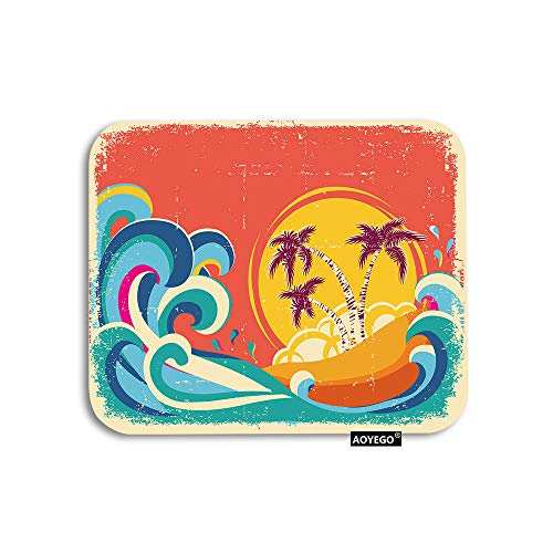 AOYEGO Hawaii Beach Mouse Pad Vintage Palm Tree Sun Tropical Island Giant Wave Gaming Mousepad Rubber Large Pad Non-Slip for Computer Laptop Office Work Desk 9.5x7.9 Inch