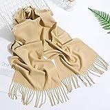 Bufanda Bufanda De Moda De Color Sólido para Mujer, Hijabs De Invierno con Borlas, Chales Largos para Mujer, Chales De Cachemira, Hijabs, Pañuelo para Hombre, Camel