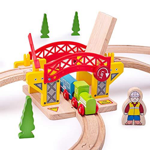 Bigjigs Rail Pont Levant Compatible avec d'Autres Grandes Marques de Rails en Bois