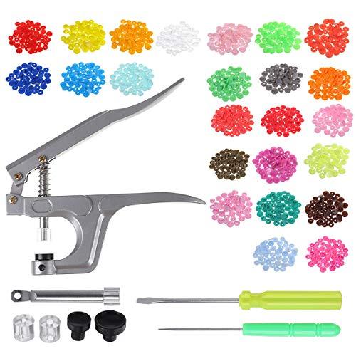 ZOYOSI 350 broches de plástico para manualidades KAM Snaps T5 Snap Starter Poppers + Alicates