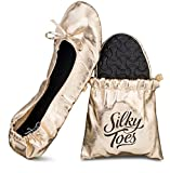 Silky Toes Women's Foldable Portable Travel Ballet Flat Roll Up Slipper Shoes with Matching Carrying Pouch (Medium, Gold)