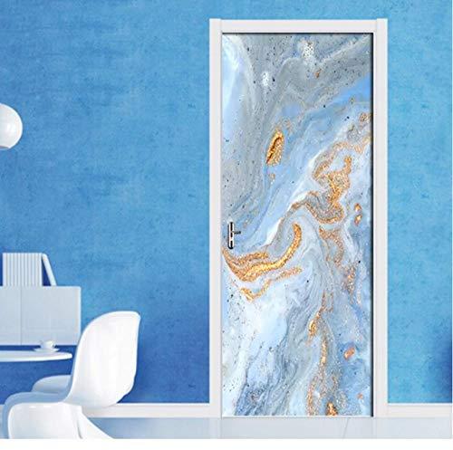 Zelfklevende vernieuwing Home Decor deursticker Golden Beach Print Art waterdicht behang wandgarderobe renovatie sticker afbeelding 95 * 215cm