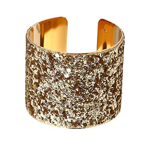 Tendycoco - Pulsera larga con puño largo y lentejuelas, pulsera rígida brillante para mujer (oro)