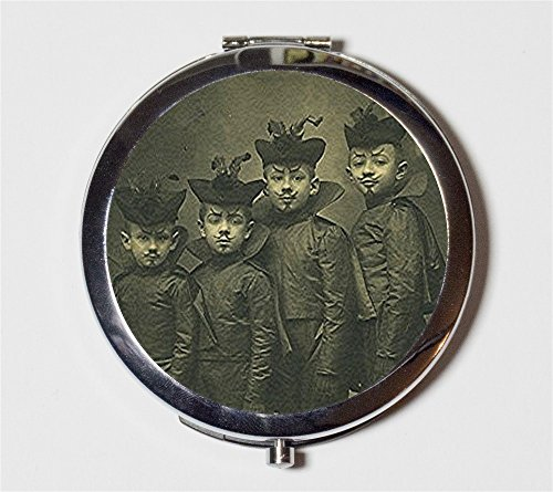 Devil Boys Compact Mirror Victorian Halloween Costume Goth Macabre Gothic Pocket Size for Makeup Cosmetics
