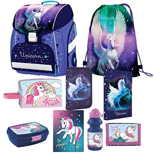 Einhorn Unicorn Pegasus Pferd Pony Horse 9 Teile Set Schulranzen RANZEN FEDERMAPPE TORNISTER Tasche...