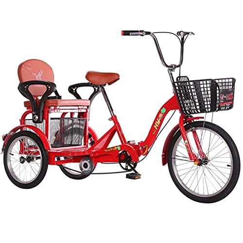 SN Plegable Triciclo De 3 Ruedas para Adultos 20 Pulgadas Bicicletas De Tres Ruedas con Asiento Trasero Cesta Compra Van Los Carros para Picnics Bici Pedales Ciudad Calle (Color : Red)