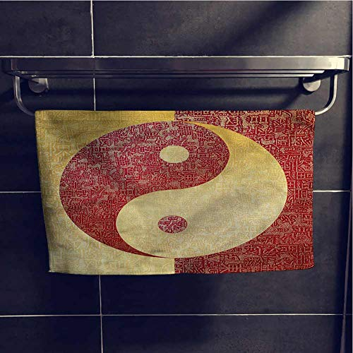 alisoso Ying Yang Shower Towels Absorbent and Super Soft Towels 10x10 Inch Chinese Spiritual Design