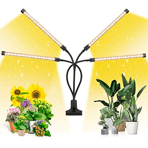 EZORKAS LED Growth Light, Four Head Timing,5 Dimmable Levels, Plant Grow Light for Indoor Plant with Full Spectrum,Adjustable Gooseneck, 3 6 12H Timer, 3 Switch Modes