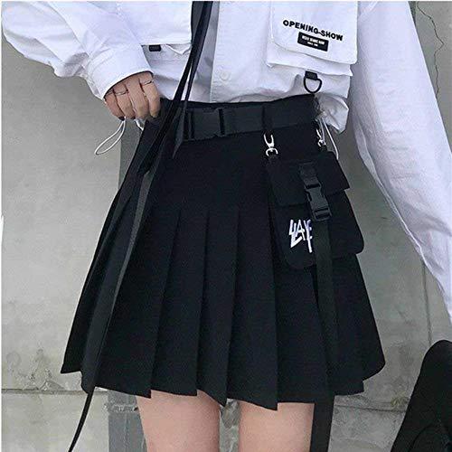Coner Harajuku Dunkle Faltenröcke Frauen Tasche Hohe Taille Retro Miniröcke Mode Streetwear Sommer Weibliche Röcke, Schwarz, XXL