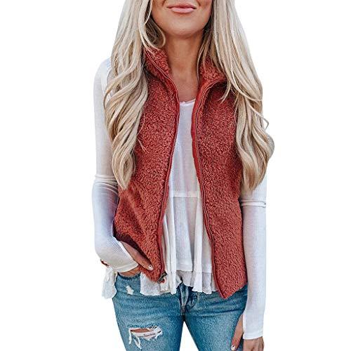 Xmiral Weste Mantel Damen Einfarbig Reißverschluss Ärmellos Plüsch Jacke Slim Fit Pullover Bluse Weste mit Taschen(Rot,S)