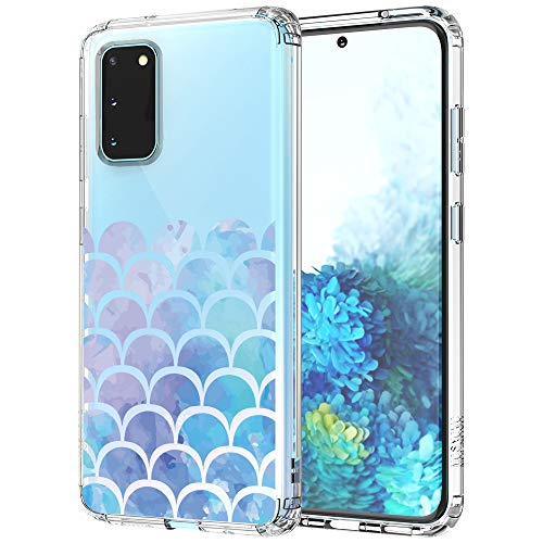 MOSNOVO Galaxy S20 Case, Mermaid Tail Pattern Clear Design Transparent Plastic Hard Back Case with TPU Bumper Protective Case Cover for Samsung Galaxy S20