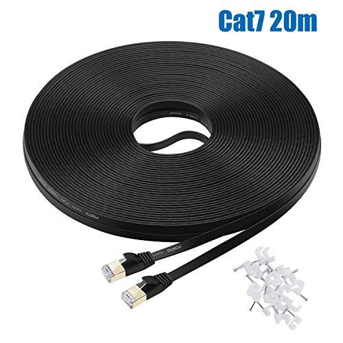 FOSTO - Cable Ethernet categoria 7 de 30 m, plano, con terminación en RJ45 de alta velocidad (10 Gigabit) para Xbox, PS4, módem, router, conmutador, PC, TV Box, etc. 20 m negro