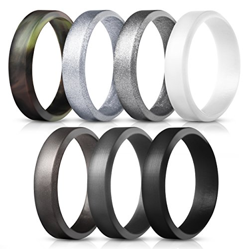 Saco Band Silicone Rings for Men - 7Pack Beveled Rubber Wedding Bands (Camo White Dark Gray Black Brown Gray Silver, 10.5-11 (20.6mm))
