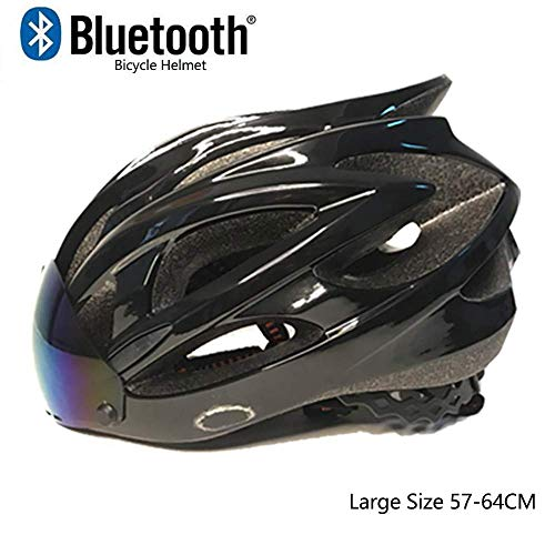 D-JIU Super leichte Fahrradhelm für Erwachsene mit Bluetooth, verstellbare Fahrradhelm mit abnehmbaren magnetischen Visier, professionelle Fahrradhelm für Berg und Straße Männer,Schwarz