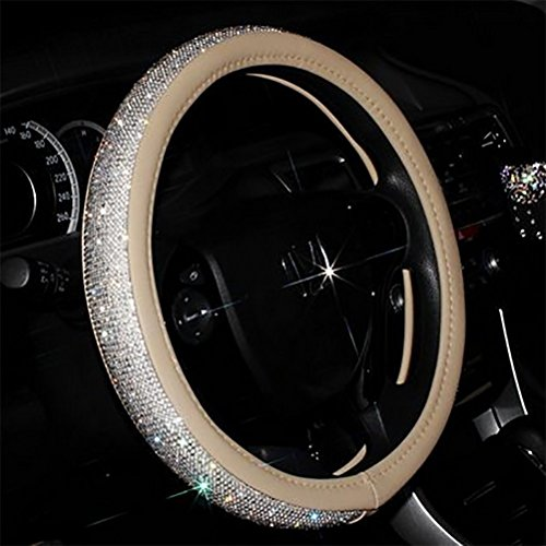 """universale Scintillante Diamante Coprivolante per auto 38cm/15""""Pieno Bling bling Strass Pelle Coprivolante Interni auto Car Styling arredamento Accessori (beige)"""