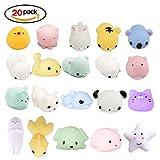 LEEHUR Squishy Kawaii Set, 20 Stück Mochi Mini Squishies Mesh Ball Anti Stress Spielzeug für Kinder