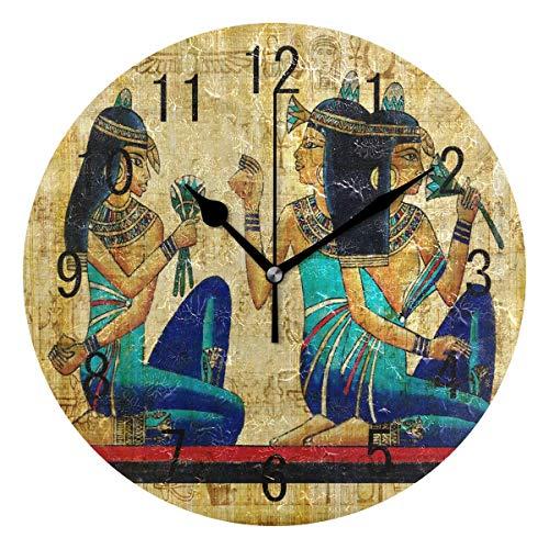 zhengdengshuibaihuodian Wohnkultur Alte Ägyptische Kultur Runde Acryl 9 Zoll Wanduhr Nicht Ticken Stille Uhr Kunst für Wohnzimmer Küche Schlafzimmer