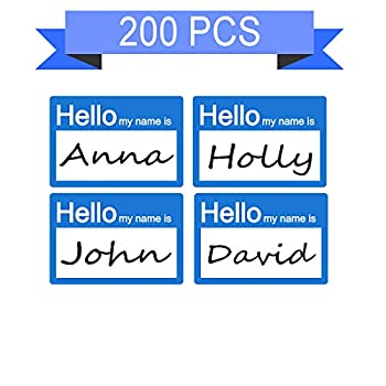 SMAR 2 X 3 inch Hello My Name is Stickers Name Tag Labels Kids My Name is Labels 200 pcs