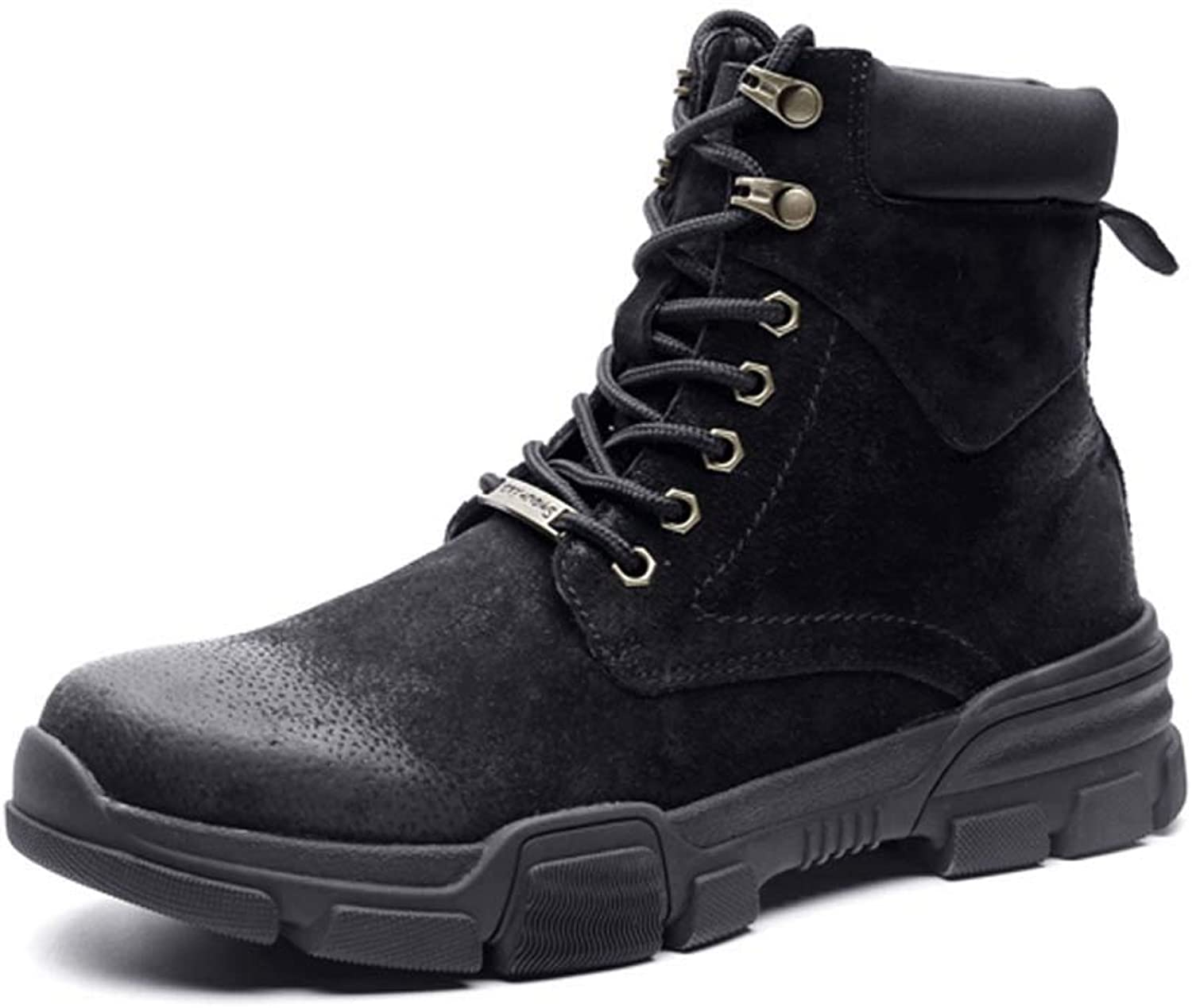 SIPENGFEI Mens Martin Boots Autumn Winter Round Toe Lace Up Warm British Trend Combat Boots