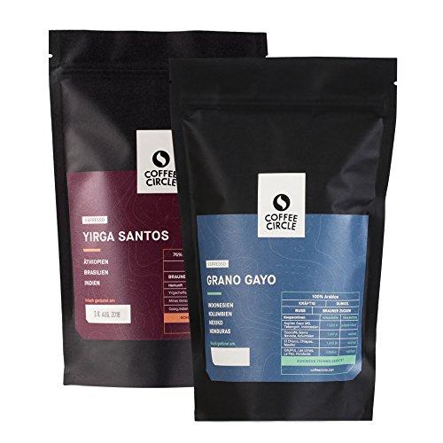 Coffee Circle | Premium Espresso Geschenk | 2 x 350g ganze Bohne | Kräftig geröstete Espressi im Set | Arabica und Robusta | fair & direkt gehandelt | frisch & schonend geröstet