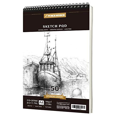 PENCILMARCH Bloc de Dibujo en Espiral - A4 180 GSM 50 Hojas. Cuaderno de dibujo para artistas. Ideal para estudios, escuelas o casa.