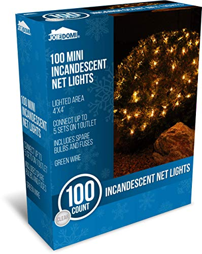 Joiedomi 100 Warm White Incandescent Christmas Net Lights for Indoor & Outdoor Decorations, Christmas Events, Christmas Eve Night Decor, Christmas Tree, Bushes