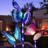 Garden Solar Lights Outdoor, 3 Pack Solar Stake Lights Multi-Color Changing LED, Fiber...