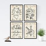 Nacnic Vintage - Pack de 4 láminas con Patentes de Bicicletas 2. Set de Posters con inventos y Patentes Antiguas. Elije el Color Que más te guste. Impreso en Papel de 250 Gramos de Alta Calidad