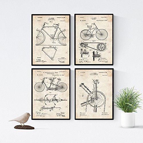 Nacnic Vintage Fahrrad Patent Poster 4-er Set. Vintage Stil Wanddekoration Abbildung von Sports und Fahrradteilen. Verschiedene geometrische Alte Erfindungen Bilder ohne Rahmen. Größe A4.