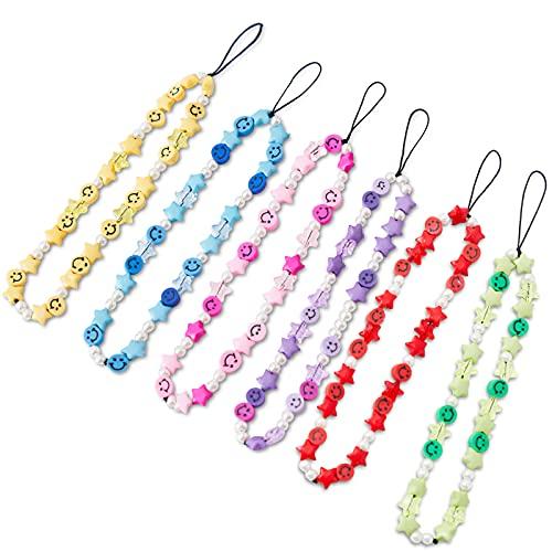6PCS Beaded Phone Strap Smiley Face Beaded Y2K 90S Lanyard Wrist Strap,Star Smiley Soft Ceramic Bracelet Keychain Charm for Women Girl 6 Color