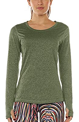 icyzone Women's Workout Yoga Long Sleeve T-Shirts with Thumb Holes (XL, Olive)