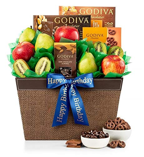 GiftTree Fresh Fruit & Godiva Happy Birthday Gift Basket | Includes Gourmet Chocolates and Confectio - http://coolthings.us
