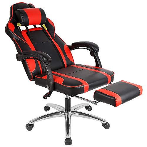 MUPAI Fauteuil Gamer Fauteuil de Bureau, 360°Pivotante, Réglable en Hauteur Chaise de Bureau Ergonomique Confort (Rouge - Noir)