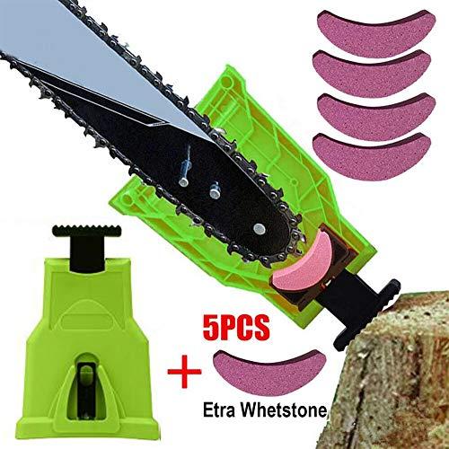 NO LOGO FJJ-JU, Catena Sharpener Grinding 5pcs Professionale del Legno Chainsaw Denti con addizionali Whetstone Pietra Mola di affilatura Strumenti