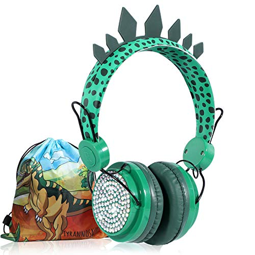 Kids Headphones Boys Wireless Bluetooth Headset w/Mic Over On Ear for School/pc/ipad,Dinosaur Headphones for Kids Children Girls, Volume Limited Adjustable Headset w/1pc Dinosaur Party Bag, Green