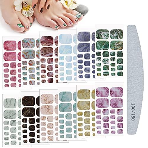 Kalolary Selbstklebend Nagelfolie Sticker, 12 Blatt Marmorierung Fußnagel Aufkleber Nail Art Aufkleber Design Selbstklebende Maniküre Sticker Schöne Mode DIY Dekoration